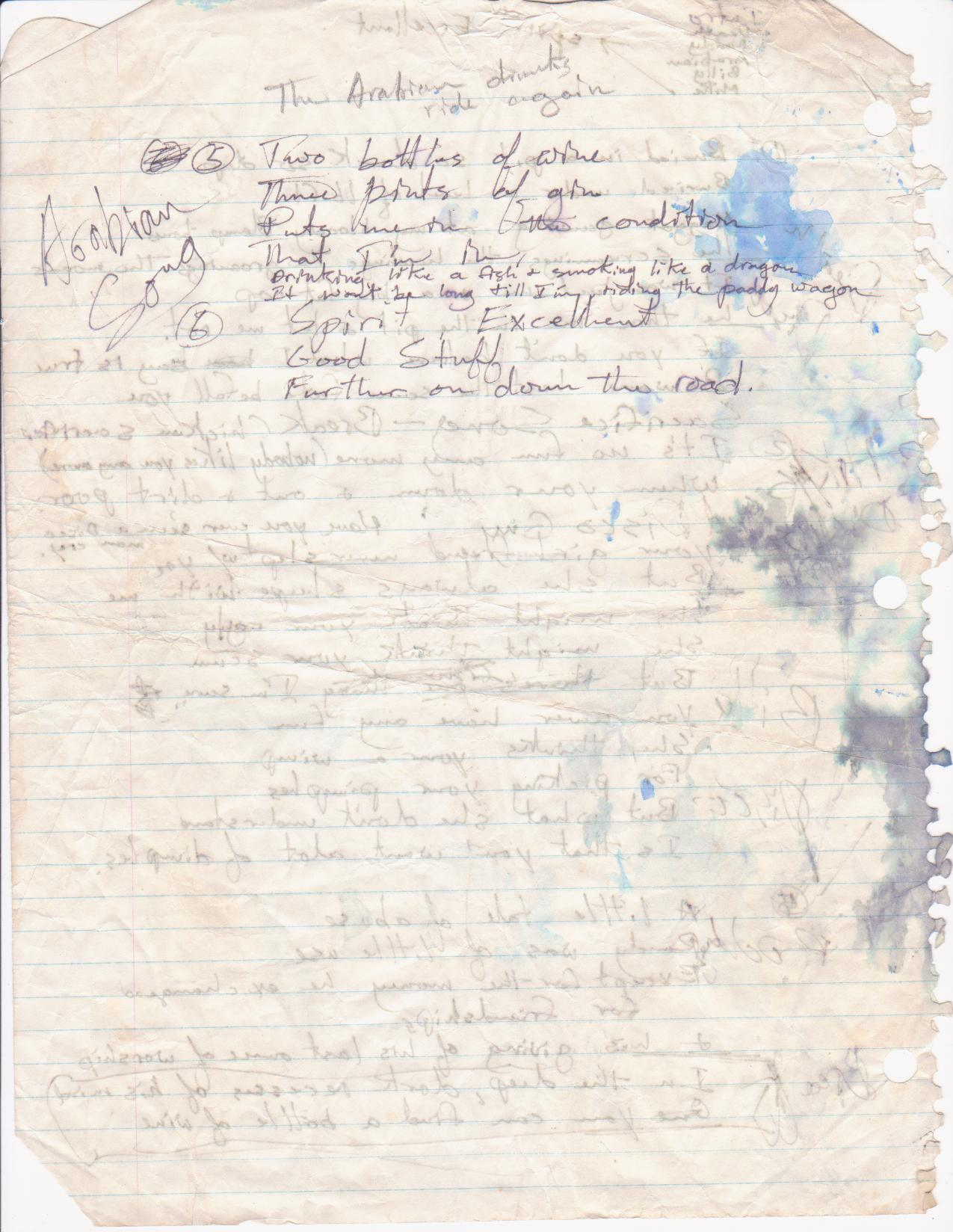 Walter's handwritten lyrics